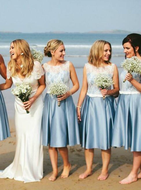 Cheap Junior Short Pretty Blue Satin White Lace Bridesmaid Dresses