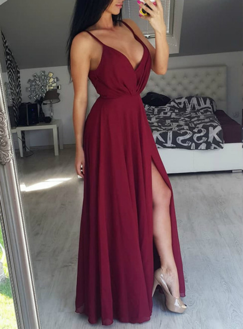 Burgundy Straps Long Chiffon Prom Dress with Side Slit