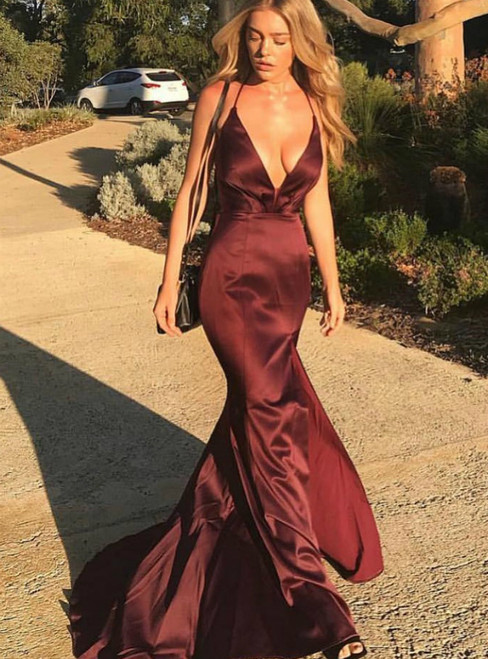 Burgundy Straps V Neck Mermaid Long Prom Dress with Criss Cross Back