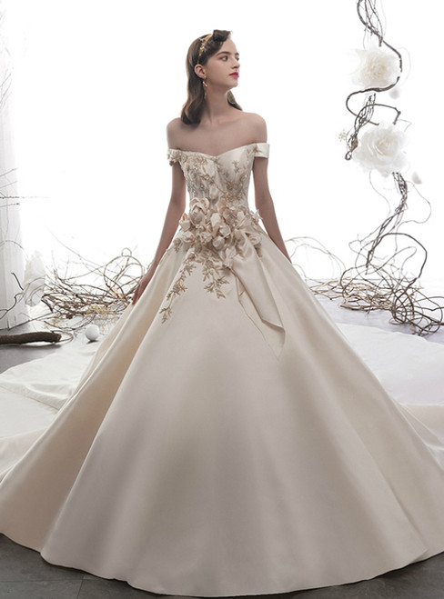 Champagne Ball Gown Satin Off the Shoulder 3D Flower Wedding Dress