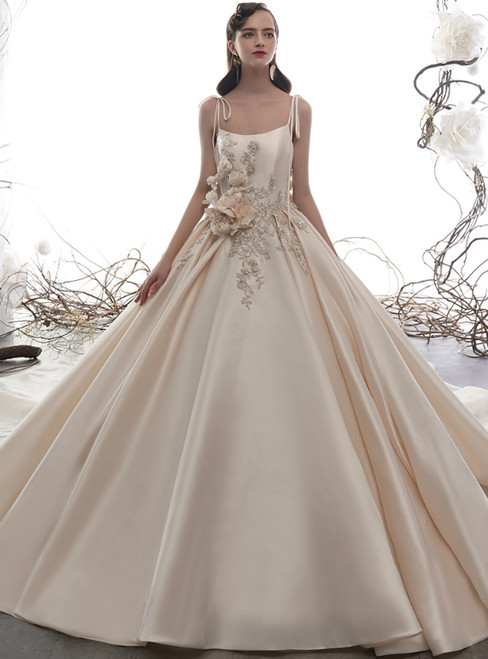 Champagne Ball Gown Satin Spaghetti Straps Beading Flower Wedding Dress