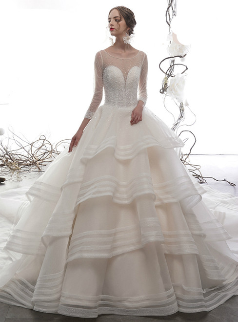 Champagne Long Sleeve Tulle Beading Sequins Backless Wedding Dress
