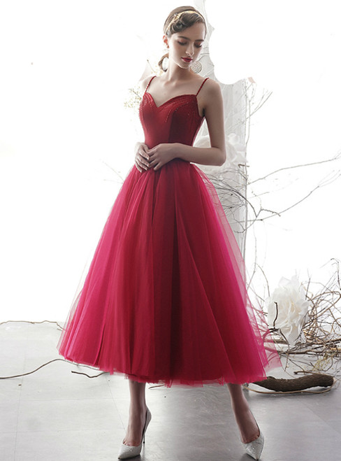 Burgundy Tulle Spaghetti Straps Backless Beading Prom Dress