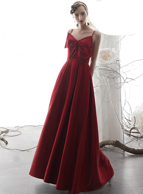 A-Line Burgundy Satin Spaghetti Straps Prom Dress With Bow