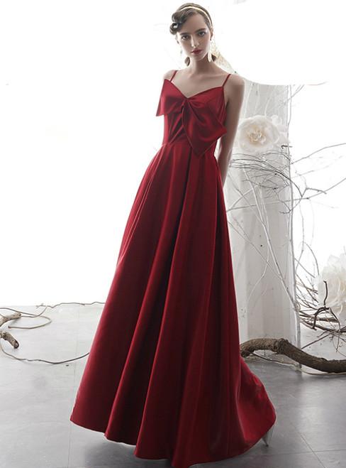 A-Line Burgundy Satin Spaghetti Straps Prom Dress With Bow