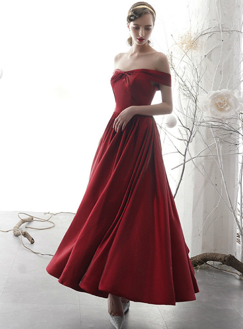 A-Line Burgundy Satin Off the Shoulder Pleats Ankle Length Prom Dress