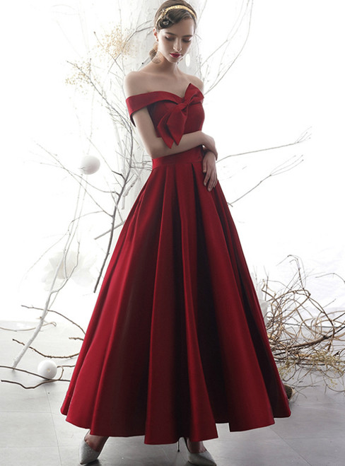 A-Line Burgundy Satin Off the Shoulder With Bow Prom Dress