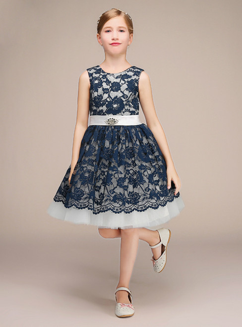 Navy Blue Lace White Tulle Short Girl Dress With Sash