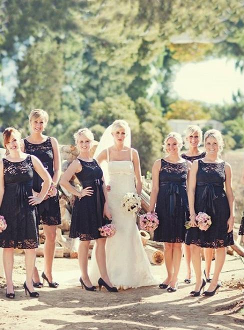Lace Short Simple A-Line Prom Dress Scoop Mini Bridesmaid Dress