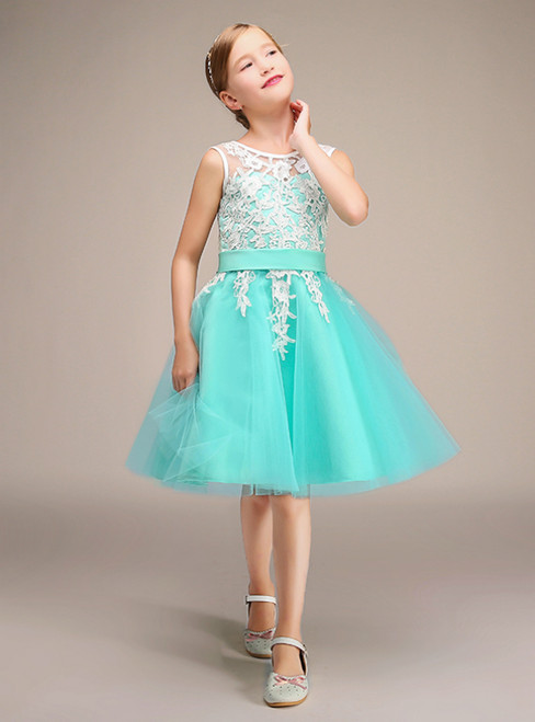 A-Line Light Blue Tulle White Lace Flower Girl Dress With Sash