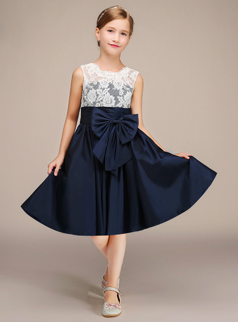 Short Navy Blue Satin White Lace Flower Girl Dress With Bow