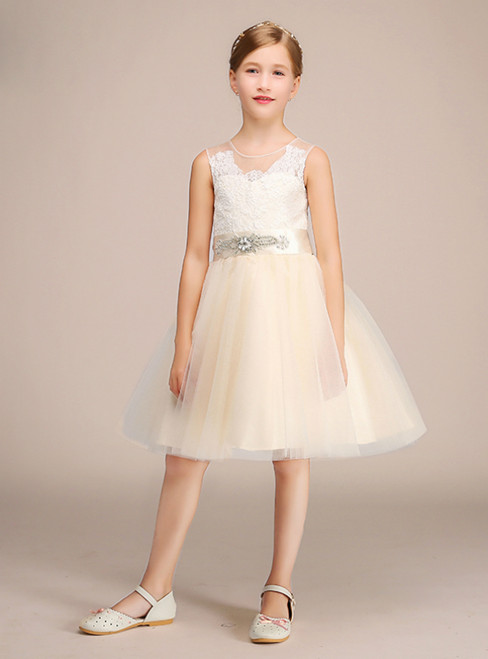 Yellow Tulle White Lace See Through Back Girl Dress With Sash