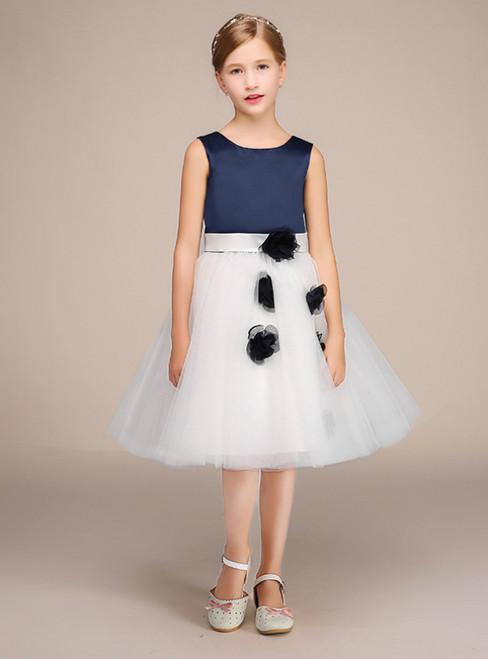 White Tulle Navy Blue Satin Flower Short Flower Girl Dress