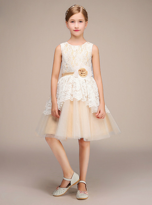 Champagne Tulle White Lace Short Flower Girl Dress With Flower