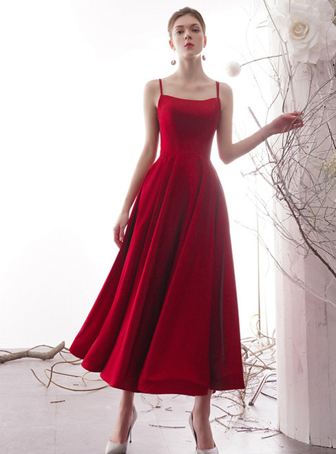A-Line Simple Red Satin Spaghetti Straps Tea Length Prom Dress