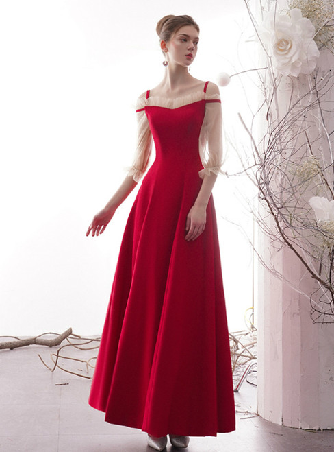Red Satin Straps Long Sleeve Long Formal Prom Dress