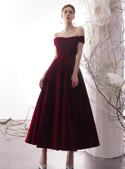 Dark Burgundy Velvet Off the Shoulder Pleats Ankle Length Prom Dress With Pocket
