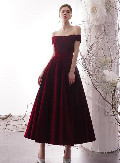 Dark Burgundy Velvet Off the Shoulder Pleats Ankle Length Prom Dress With Pocket