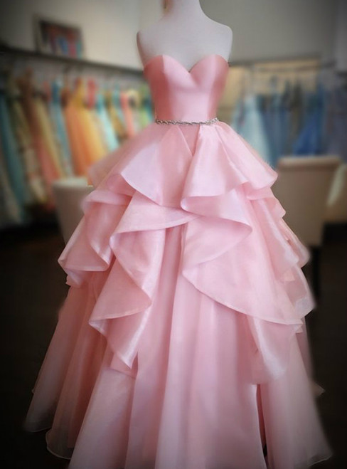 Pink Ball Gown Sweetheart Neck Prom Dress With Beading