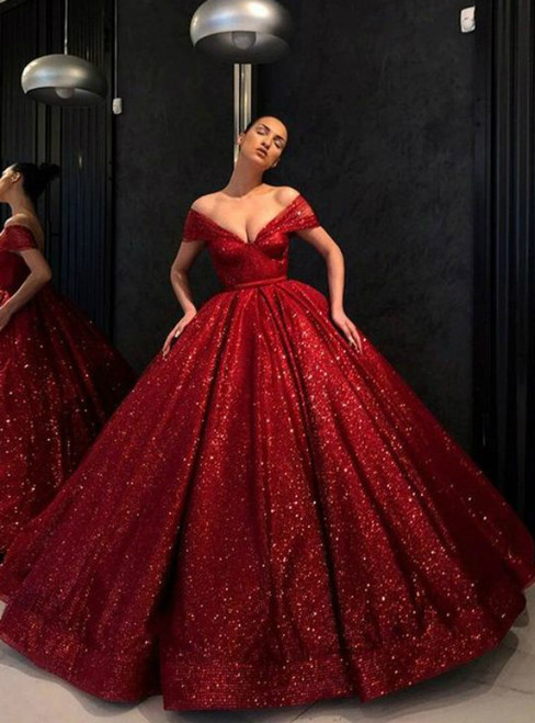 Red Ball Gown Sequins Vintage Off The Shoulder Prom Dress