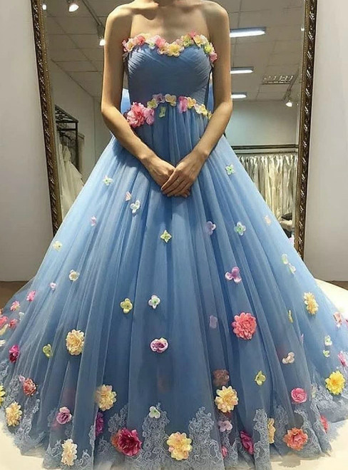 Blue Ball Gown Tulle Lace 3D Flower Sweetheart Prom Dress