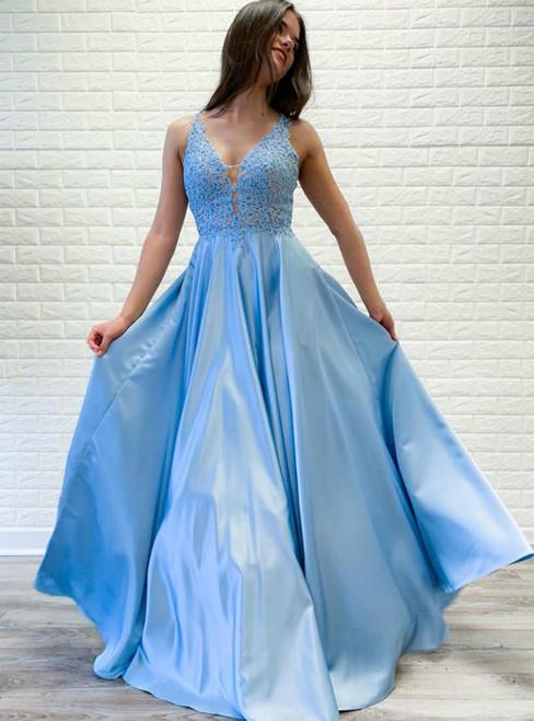 A-Line Blue Satin V-neck Lace Sleeveless Long Prom Dress