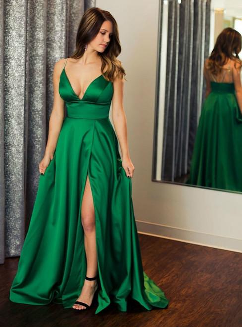 Green Satin Spaghetti Straps Beading Prom Dress With Split