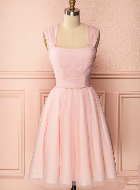 A-Line Pink Tulle Straps Pleats Beading Homecoming Dress