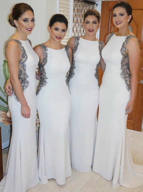 Jersey White Mermaid Appliques Floor Length Bridesmaid Dresses