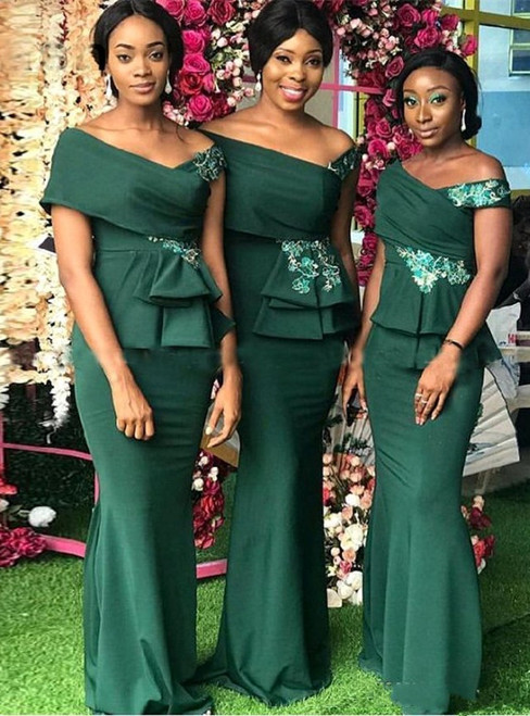 Green Mermaid Satin Off the Shoulder Appliques Bridesmaid Dresses