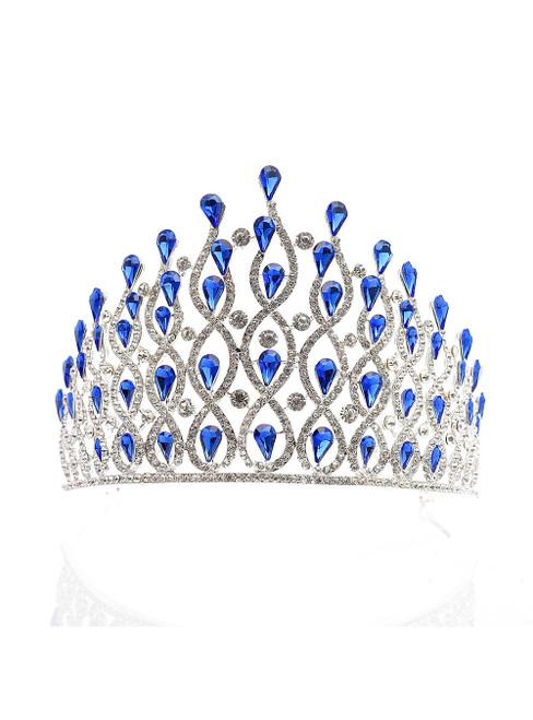 Blue Crown Bride European Luxury Alloy Diamond Crystal