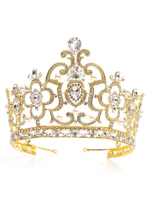 Gold Crown Tiara Super High Baroque Crystal Crown
