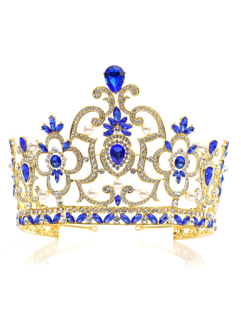 Blue Crown Tiara Super High Baroque Crystal Crown