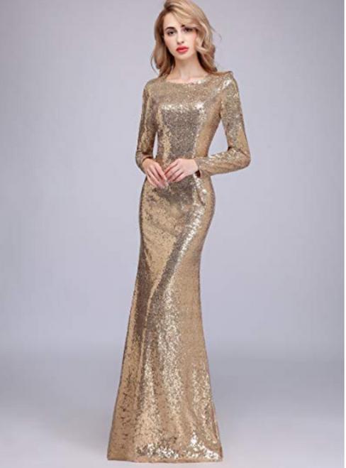 Cheap A-Line Scoop Neck Long Sleeves Floor Length Bridesmaid Dresses