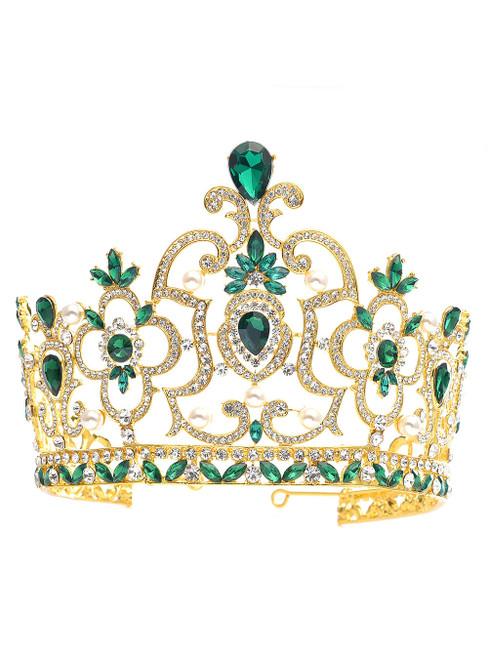 Green Crown Tiara Super High Baroque Crystal Crown