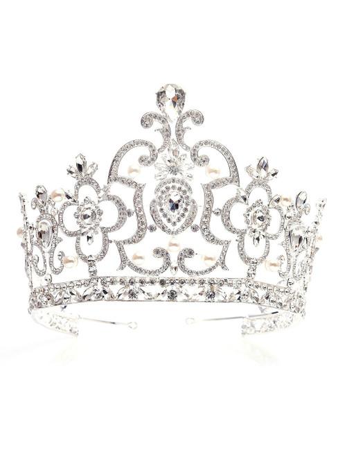 White Crown Tiara Super High Baroque Crystal Crown