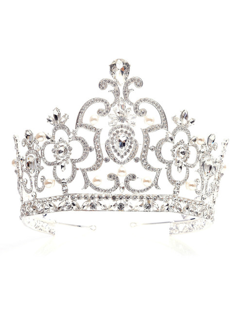 White Crown Tiara Super High Baroque Crystal Crown