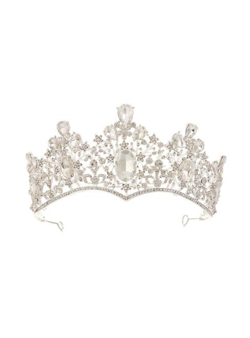 Women Silver White Retro Baroque Queen Golden Crown