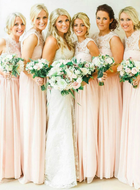 Pearl Pink Chiffon Lace Bridesmaid Dresses With Soft Pleats