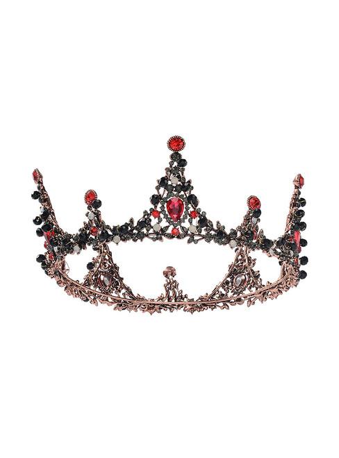 Black European Baroque Handmade Round Tiara Millet Bead Headdress