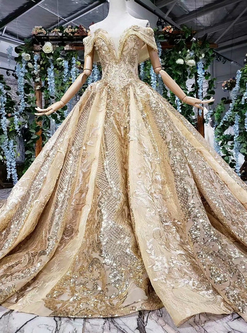 Gold Ball Gown Sequins Lace Appliques Off the Shoulder Luxury Wedding Dress