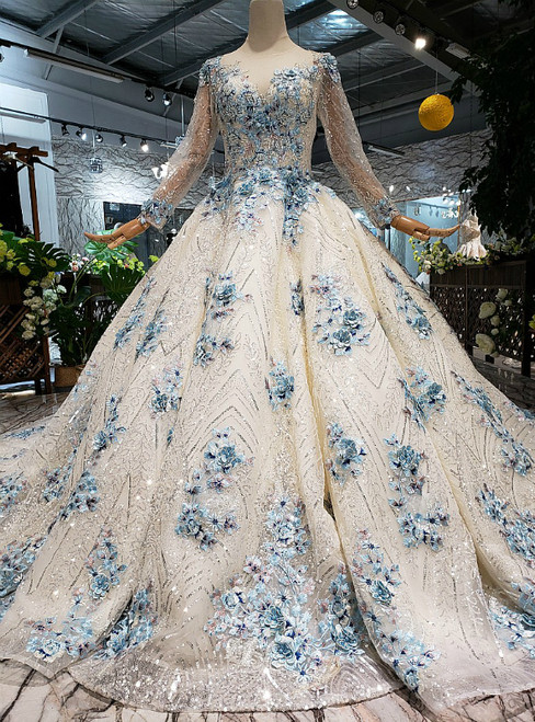 Champagne Tulle Sequins Blue Embroidery Appliques Long Sleeve Luxury Wedding Dress