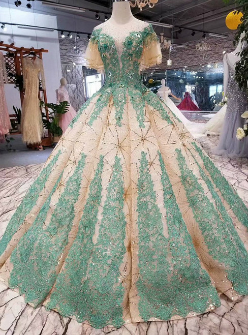 Champagne Ball Gown Sequins Green Appliques Backless Luxury Wedding Dress