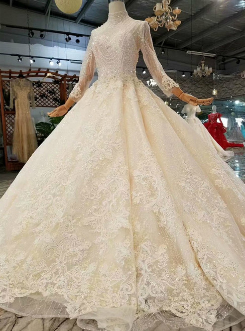 Champagne Tulle Lace Appliques High Neck Long Sleeve Beading Luxury Wedding Dress