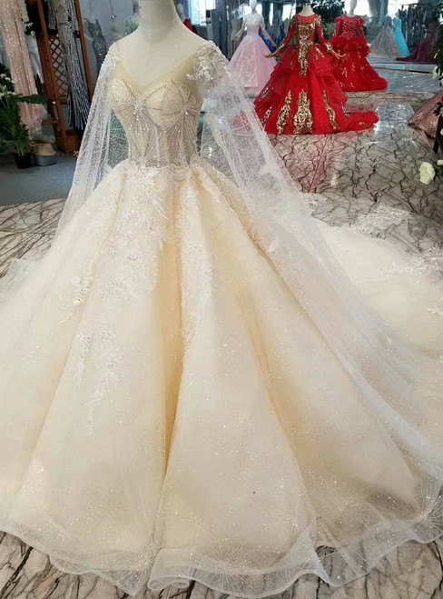 Champagne Tulle Appliques V-neck Backless Beading Wedding Dress With Long Train