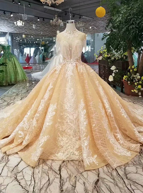 Champagne Tulle Lace Appliques High Neck Backless Luxury Wedding Dress
