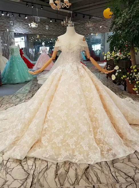Champagne Ball Gown Tulle Appliques off the Shoulder Luxury Wedding Dress