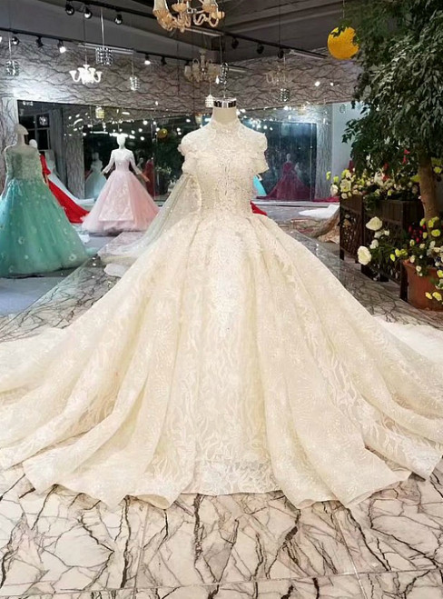 Champagne Tulle Sequins Appliques High Neck Cap Sleeve Luxury Wedding Dress
