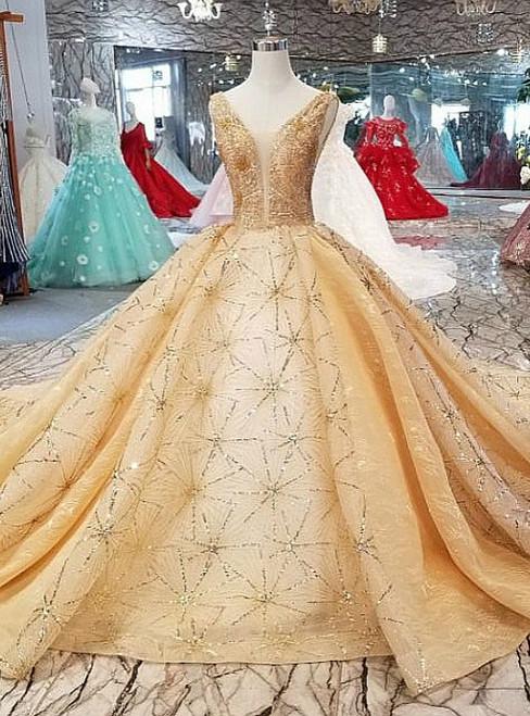 Champagne Tulle Sequins Backless V-neck Beading Luxury Wedding Dress