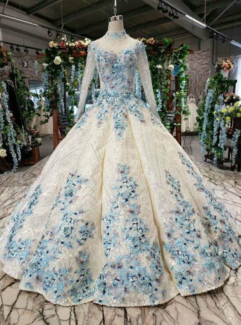 Champagne Sequins Blue Embroidery Appliques Long Sleeve Luxury Wedding Dress